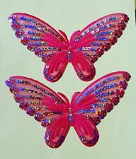 2 Large Pink Iron On Butterfly Applique With Sequins - Patch- IR4