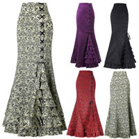 Women Retro Vintage Gothic Victorian Fishtail Skirt Steampunk Long Mermaid Dress