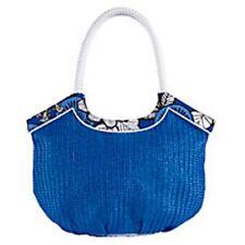 Vera Bradley Straw Bucket Tote Shoulder Bag Blue Bayou NWT
