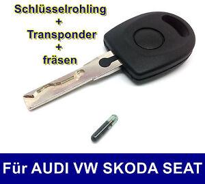 Ersatz Schlüssel mit Transponder Nachmachen fräsen für AUDI VW SKODA SEAT HAA