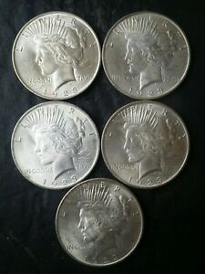 Lot of Five 1923 $1 Peace Silver Dollars