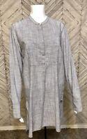 Gap Gray White Long Sleeve Button Up Side Slit Hi Low Hem Tunic Dress Womens M