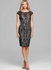 MONIQUE LHUILLIER LACE SHEATH DRESS, BLACK, SIZE 0