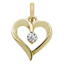 Real 9ct Gold Heart Cubic Zirconia Pendant Mothers Day Women Mummy Birthday Gift