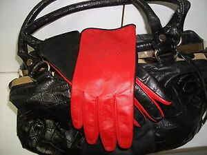 WOMEN'S REAL SOFT GOATSKIN LEATHER GLOVES RED AND BLACK  7, 7.5, 8,8.5