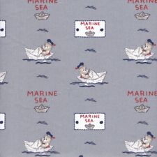 Textiles français Rower Teddy Bears fabric GREY/RED 100% Cotton 140 cm wide