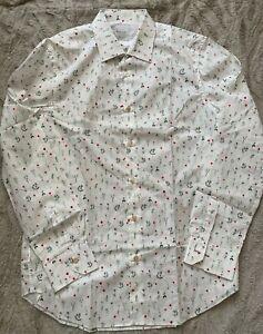 Paul Smith Klassische Passform Blumenmuster Baumwolle Hemd Weiß Kragen 40.6cm L