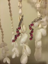 Special Occasion Dangling Red Ruby + Garnet White Gold/Sterling Silver Earrings