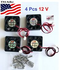 4 Pcs 12V 40mm Cooling Computer Case Fan 4010 40x40x10mm DC PC 3D Printer 2-Pin
