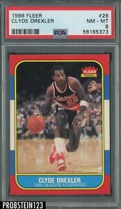1986 Fleer Basketball #26 Clyde Drexler Trail Blazers RC Rookie HOF PSA 8 NM-MT