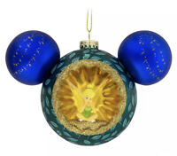 Disney Parks Authentic Tinker Bell & Peter Pan Mickey Icon Blown Glass Ornament
