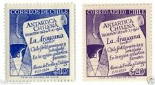 Chile 1958 #586-7 Map Antarctic La Araucana Alonso de Ercilla MNH
