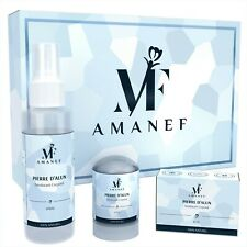 Amanef - Déodorant Pierre d'Alun 100% Naturel - Coffret, Stick, Spray, Bloc