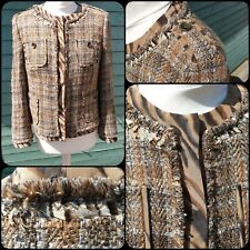 Rena Lange Jacket Size 12 Textured Wool Boucle Tweed Brown Feather Trim Animal