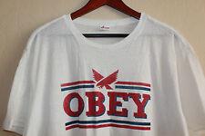 Mens NWOT Obey White Logo T-Shirt Sz XL Cotton Shirt Short Sleeve Casual Tee NEW