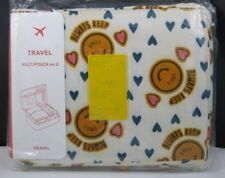 New Travelus Toiletry Cosmetic Make Up Bag Makeup Organizer-Smiley Blue Hearts