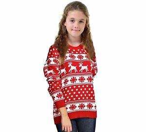 Girls Kids Christmas Jumper Reindeer Novelty Sweater Xmas Snowflakes Top Age5-14