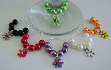SET OF 6 WINE GLASS RINGS CHARMS WITH ENAMELLED TIBETAN SILVER FLOWERS