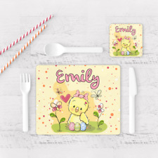 Personalised Chicken Easter Egg Girls Kids Children's Table Placemat & Coaster