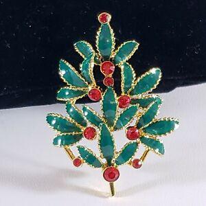 Christmas Holiday  Brooch Pin Gold Tone Enamel Red Rhinestones Tree UNIQUE