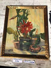 Beautiful Vintage Mid Century Cactus Flower Oil Painting Modern Art Deco Hobo
