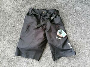 SIZE M JUNIOR MUDDY FOX CYCLING SHORTS REMOVABLE INNER LINING WITH GEL PADS