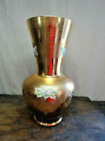 """Vintage Italian Art Glass Gold Gilded Amber Vase 13"""" Tall"""
