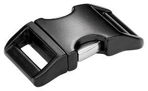 5 - 1 Inch Black Contoured Aluminum Side Release Buckles