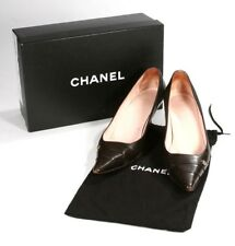 Authentic Chanel Dark Brown Leather Pumps Heels Shoes With Box & Dust Bag