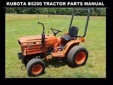 KUBOTA B5200 TRACTOR PARTS MANUAL - 175pg for B 5200D 5200 D Service & Repair