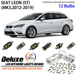 12 Bulbs Deluxe White LED Interior Dome Light Kit For 2012-2017 MK3 Seat Leon ST