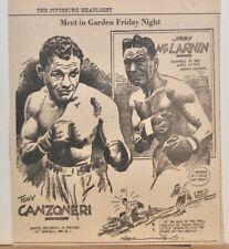 1936 newspaper panel - Tony Canzoneri vs. Jimmy McLarnin meet Friday Night