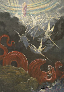 Postkarte: Gustave Dorè - Die gekrönte Jungfrau , Gesicht des Johannes