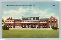 Athens GA, University, Boy's Dormitory, Old Campus, Linen Georgia Postcard
