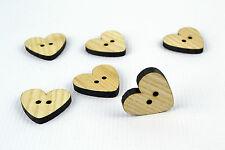 6pcs bottoni di grandi dimensioni in legno 30mm/forma a cuore/Laser Cut/Perline/cucito/artigianato