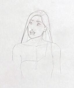 Walt Disney Production Drawing of Pocahontas