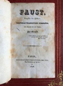 Goethe, Gérard de Nerval — Faust — 1ère éd. de la trad.  — Dondey-Dupré — 1828.