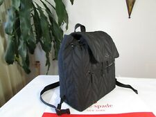 NWT Kate Spade Ellie Large Flap Nylon Backpack Black