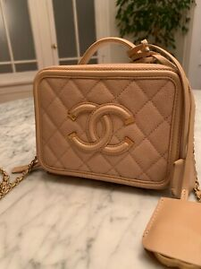 100% AUTHENTIC CHANEL Filigree Vanity Case Beige Nude Caviar Quilted CC SMALL