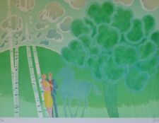 """ALBERT ZAVARO """"Lovers"""" HAND SIGNED NUMBERED LITHOGRAPH Turkish/french Artist"""