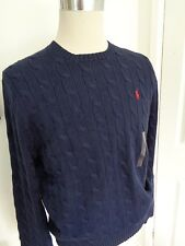 BNWT Polo Ralph Lauren Navy Cotton Cable Knit Jumper  size L