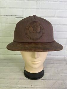 Star Wars Rebel The Resistance Logo Faux Leather Brim Canvas Strapback Hat Cap