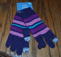 NWT Women's Life is Good Stripes Striped Texting Gloves