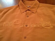 Centro Strike Cigar Lounge Smoking Brown Bowling Retro Button Front Shirt (L)