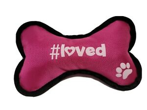 "Love Paw prints Large Canvas Squeaking Bone Shape Dog Toys Pink 10""x5"""
