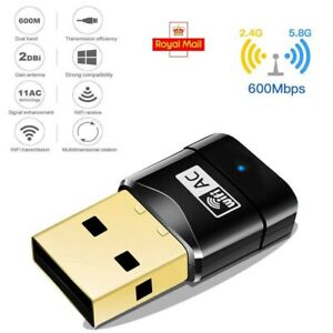 600Mbps USB Dual Band WiFi Dongle 5/2.4Ghz Wireless LAN Adapter For Laptop PC