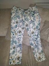 Zara Women's White Floral Pants Size XL Bnwt