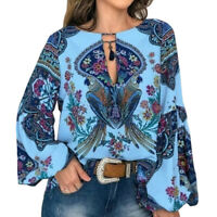 Plus Size Women Boho Floral Lantern Long Sleeve Blouse Loose Tops Tunic Shirt