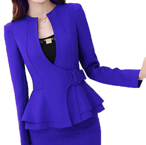 Office Blazer Jacket With Belt Royal Blue for Women, Small