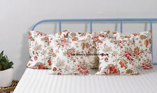 Indian Floral Paradise Cotton Pillow Case Throw Waist Cushion Cover Decor White